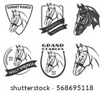 set of monochrome horse head... | Shutterstock .eps vector #568695118