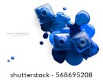 Fine art cosmetics and beauty image of vivid blue nail varnish spilled around three opened bottles viewed top down with different shades and metallic lustre isolated on white with copy space for text - stock photo