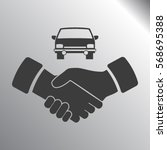 handshake and car vector icon | Shutterstock .eps vector #568695388