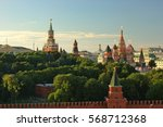 evening view on moscow red... | Shutterstock . vector #568712368