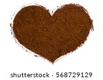 heart of ground coffee on white ... | Shutterstock . vector #568729129