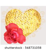 rose on a background of shiny... | Shutterstock .eps vector #568731058