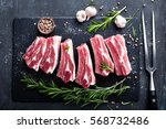 raw pork meat ribs with... | Shutterstock . vector #568732486