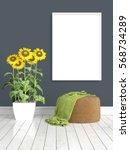 modern bright interior with... | Shutterstock . vector #568734289