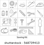 sewing and tailoring tools kit  ... | Shutterstock .eps vector #568739413