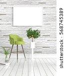 modern bright interior with... | Shutterstock . vector #568745389