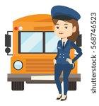 young caucasian school driver... | Shutterstock .eps vector #568746523