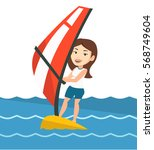 caucasian woman windsurfing in... | Shutterstock .eps vector #568749604