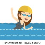 young sportswoman in cap and... | Shutterstock .eps vector #568751590