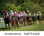 Stock photo horseracing in czechia europe traditional sport jockeys on horses 568751668