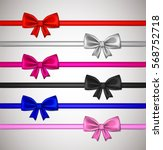 realistic ribbon bows  red ... | Shutterstock .eps vector #568752718