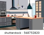 kitchen  design  kitchen icon... | Shutterstock .eps vector #568752820
