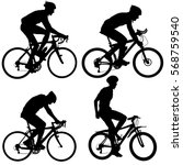 Set Silhouette Of A Cyclist...