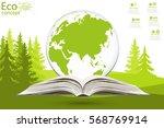 globe on opened book. the... | Shutterstock .eps vector #568769914