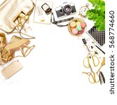 fashion flat lay for web site... | Shutterstock . vector #568774660