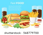 banner with fast food with cola ... | Shutterstock .eps vector #568779700