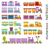 toy train different cartoon... | Shutterstock .eps vector #568781614