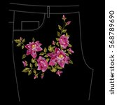 embroidery colorful jeans... | Shutterstock .eps vector #568789690