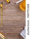 helmet  flashlight and tape... | Shutterstock . vector #568791268
