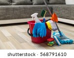 cleaning service. bucket with... | Shutterstock . vector #568791610