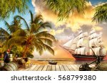 digital fresco. pirate ship | Shutterstock . vector #568799380