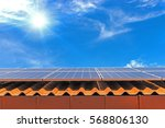 solar cell panel on roof house... | Shutterstock . vector #568806130