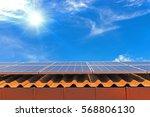 solar cell panel on roof house... | Shutterstock . vector #568806130