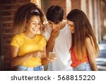 group of teenagers on the... | Shutterstock . vector #568815220