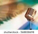 vintage micro phone with... | Shutterstock . vector #568838698