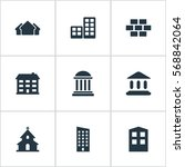 set of 9 simple construction... | Shutterstock .eps vector #568842064