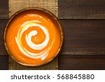 fresh homemade cream of carrot...   Shutterstock . vector #568845880