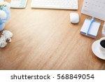 office desk wood table of... | Shutterstock . vector #568849054