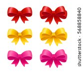 set of realistic ribbon bows ... | Shutterstock .eps vector #568858840
