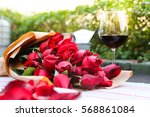 rose valentine and wine glass | Shutterstock . vector #568861084
