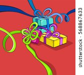 three gifts packaging boxes... | Shutterstock .eps vector #568867633