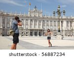 Royal Palace Madrid. Tourists...