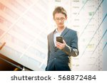casual businessman using smart... | Shutterstock . vector #568872484