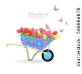 funny garden wheelbarrow with... | Shutterstock .eps vector #568886878