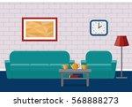 interior living room in flat... | Shutterstock .eps vector #568888273