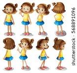 girl character in different... | Shutterstock .eps vector #568891096