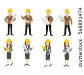 set of engineer character... | Shutterstock .eps vector #568891474