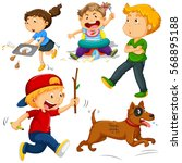 kids in different actions... | Shutterstock .eps vector #568895188