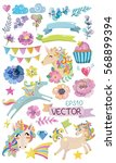 Stock vector cute watercolor magic unicorn with flowers clouds colorful collection of elements vector 568899394