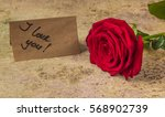 Red Rose And Note I Love You O...