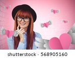 smiling hipster woman posing... | Shutterstock . vector #568905160