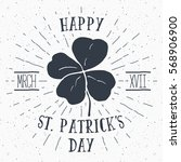 vintage label  hand drawn lucky ... | Shutterstock .eps vector #568906900