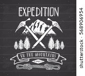 mountain expedition vintage... | Shutterstock .eps vector #568906954