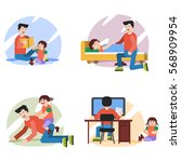four vector flat illustrations... | Shutterstock .eps vector #568909954