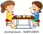 two girls eating on picnic... | Shutterstock .eps vector #568913854