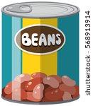 beans in aluminum can... | Shutterstock .eps vector #568913914